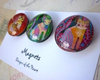 Round Glass Magnet set - Crazy Cats