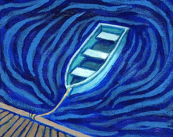 "Nautical Wall Art, Original Painting, Rowboat in Waves, 6x6"""