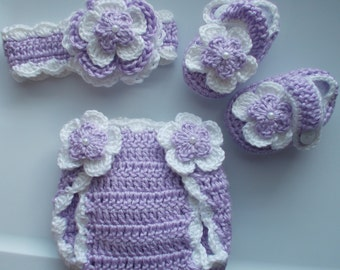 Girl Crochet Headband Hairbow Booties Diaper Cover Baby Shower Gift Photo Prop 10004  MADE TO ORDER