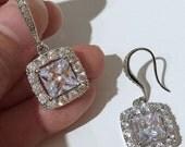 Square Earrings, Princess Cut Bridal Earrings, Cubic Zirconia Jewelry, DIAMANT
