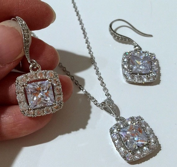 Princess Cut Earrings Necklace Set, Cubic Zirconia Square Bridal Jewelry, DIAMANT