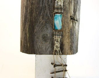 Ave Maria - mixed media with weaving