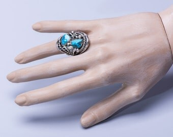 Double Turquoise Ring - Navajo Signed - Sterling Pawn  - sz 8
