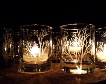 50 Piece Set 'Tree Branch' Candle Holders Wedding Favors Engraved Glass Votive Holders Fall Decor Woodland Wedding