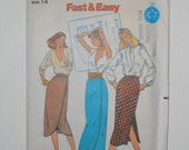 80s Straight Skirt or Front Wrap Skirt Pattern Butterick 6788 Size 14 Waist 28 UNCUT