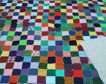 Vintage Patchwork Quilt / Double Knit Polyester