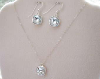 SALE, Swarovski Crystal Pendant Necklace & Earrings Set, Contemporary, Light Azore Blue Fancy Stone, Sterling Silver, Ready to Ship