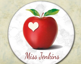 Teacher's Gift, Personalized Pocket Mirror, Apple and Heart, Stocking Stuffer