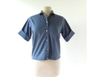 Vintage 1950s Blouse / Steel Blue / Cotton Blouse / 50s Shirt / S M