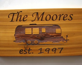 Airstream Trailer Camping Custom Engraved Cedar Sign Laser Engraved Wood Family Sign Personalized Trailer Camper Sign