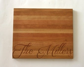 Name Engraved Cherry Wood Cutting Board Personalized Cutting Board Laser Engraved Wedding Gift