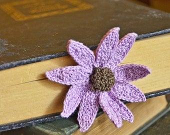 Handmade Crochet Flower Echinacea Bookmark