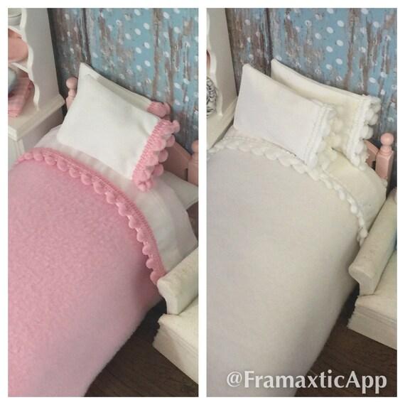 Dollhouse Blanket and Sheet set edged in Pom Pom Fringe-1/12 Scale Miniature