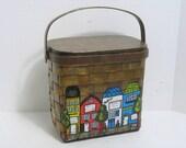 Vintage Caro Nan Purse Bobsey Twins Street City Scene Wooden Basket Purse Wicker Woven Mid Century Hip Mod