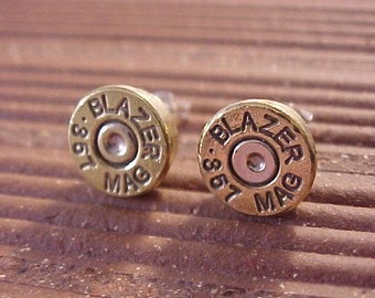 Sterling Silver Bullet Earrings 357 Magnum Brass Shells - Free Shipping to USA
