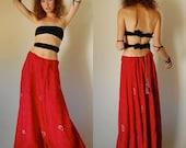 Draped Gypsy Skirt Vintage 70s Oxblood Red Beaded Paisley Brocade India Boho Maxi Skirt (s m l)