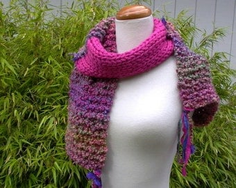 dahlia. knit scarf . handknit colorful vegan friendly scarf . chunky warm cuddly scarf . flowers sparkle sari silk . hot pink violet green