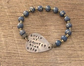 Guitar Pick Bracelet Lovin My Country Song Life rustic hand stamped Southern belle girl charm saying phrase music rocker navy blue gold