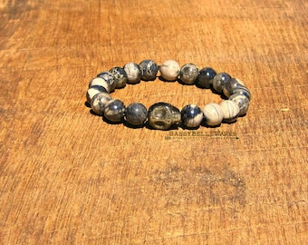 Skull Bracelet Golden Obsidian Black Silver Leaf Jasper rocker girl chic style edgy fashion grey stacking stackable
