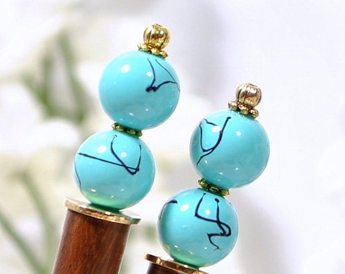 "Blue Hair Sticks Short Hairsticks Wooden Hair Pins Beaded Hair Stick - ""Waterfall"""