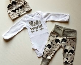 Baby Boy Newborn Take Home Outfit. Hello World. Stars and Arrows. Organic Leggings. Bring Home Baby Outfit. Boy Coming Home Outfit.