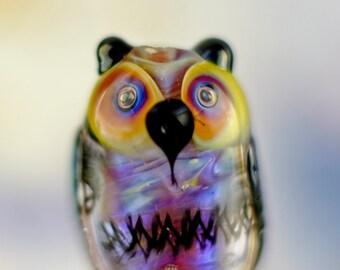 Lars..... lampwork owl bead...... sra