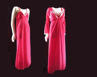 Raspberry Red Vintage 1970s Peignoir Set Nightgown and Robe Polka Dot Ruffle M L15