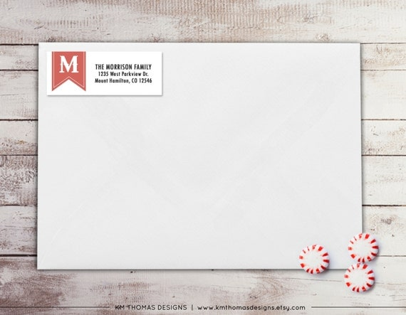 monogram return address label holiday return address label