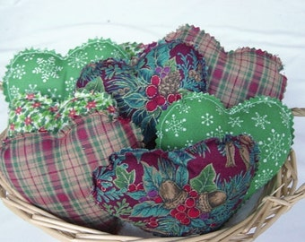 """8 Christmas bowl fillers, heart bowl fillers, 4"""" hearts"""