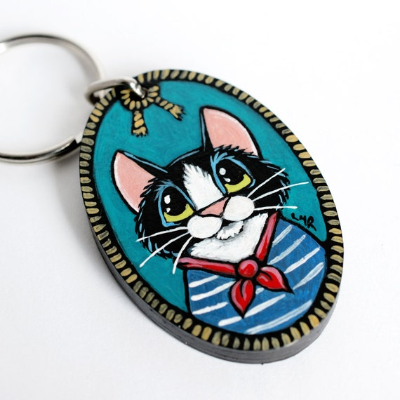 Handpainted Wood CAT Keyring Keychain by Lisa Marie Robinson | Tuxedo Cat, Rope, Sailor