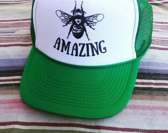 Bee Amazing Trucker Hat/green and White /Bee/ Unisex/Bee Keeping/Homesteading/Honey Bee/Bee Happy/Adult Gift/ Farmer/ Gardener/inspirational