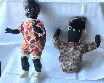 Black Americana, Set of Dolls, One Celluloid, One Weighted Rag Doll