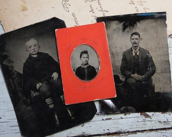 Lot of 3 TINTYPES Vintage Portraits- Dapper Gent- Child- Boy- Woman- Turn of the Century