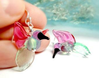 Hummingbirds, Glass Hummingbird, Glass Lampwork Hummingbird, Hummingbird jewelry, hummingbird earrings, nature jewelry, bird earrings