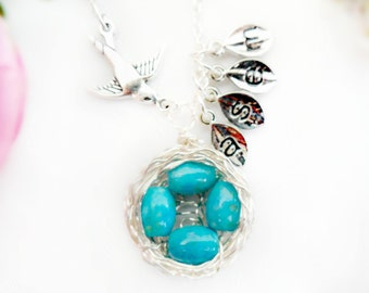 Four Egg Birds Nest Necklace with Speckled Eggs Robin Egg Wire Wrapped Mother's Day Gift Mother of four Children Siblings Custom Initials