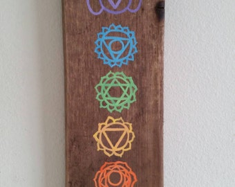 Chakra Art/ Rustic Reclaimed Upcycled Wood Sign/ Reduce Reuse Recycle