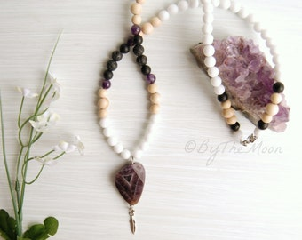 Long Amethyst Necklace - Amethyst Pendant - Feather Charm Necklace - Diffuser Jewelry - Large Stone Necklace - Lava Rock Necklace - Onyx
