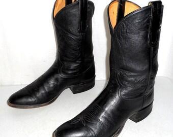 Black Leather Tony Lama Cowboy Boots Mens size 9 D / Womens 10.5 Biker Motorcycle