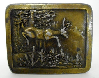 Distressed Deer Forest Belt Buckle Trees Antler 1977 Indiana Metal Craft Retro Boho Folk