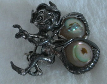 Vintage Cyvra Elf Brooch,Sterling Silver and Abalone Wings