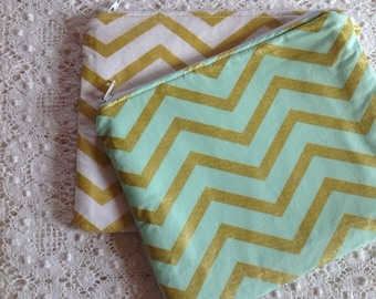 Set of 2 Makeup Bags, Bridesmaid Clutch, Mint Wedding, Gold Clutch, Bridesmaid Cluch, Cosmetic Bag, Gifts for Her, Teacher Gift, Chevron Bag