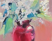 Ruby Red Vase with Stems...impressionistic...impressionism...floral...still life