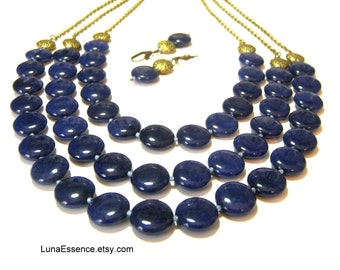 Lapis Lazuli Statement Necklace Bib Neckace Beaded Jewelry Triple Strand Necklace Gifts for Women