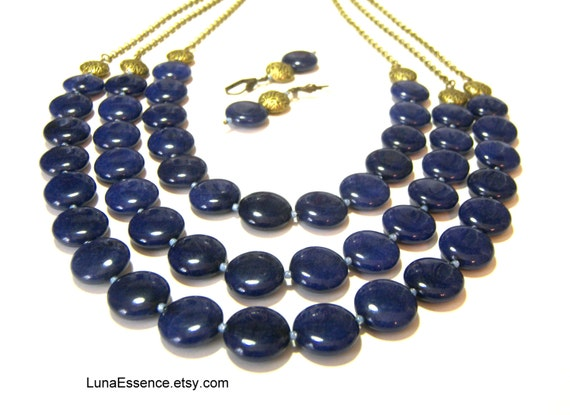 Lapis Lazuli Statement Necklace Bib Neckace Beaded Jewelry Triple Strand Necklace Gifts for Women