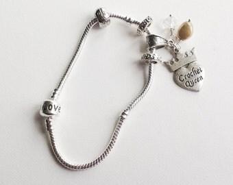 Crochet Queen Charm Bracelet - Silver Plated European Style Bracelet - Textile  Jewelry - Crochet Gift - Hooker Gift - Friendship  Bracelet