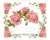 Beautiful Vintage Chic Shabby Pale Pink Roses Spray Rose Border Waterslide Water Slide Iron On Transfer Miniature Craft Decals ro-200