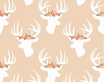 Deer Fabric - You Look Fancy Deer Blush Fabric By Mint Peony - Deer Fabric with Spoonflower- By the yard