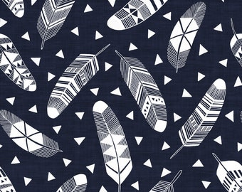 Feathers Fabric - Navy Blue - White Feathers By Kimsa - Feathers Cotton Fabric By The Yard With Spoonflower