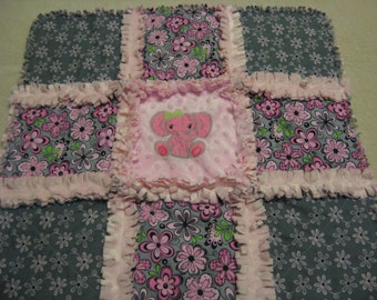 Pink and Gray Flowers with Baby Elephant Baby Girl Rag Quilt Blanket 22x22