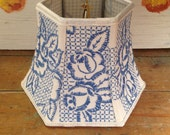 Embroidery Lampshade, Small Lampshade Blue Rose, Vintage Textile Shade 5x8x6 Hex Bell Clip top - Nice texture - Handmade Lampshades